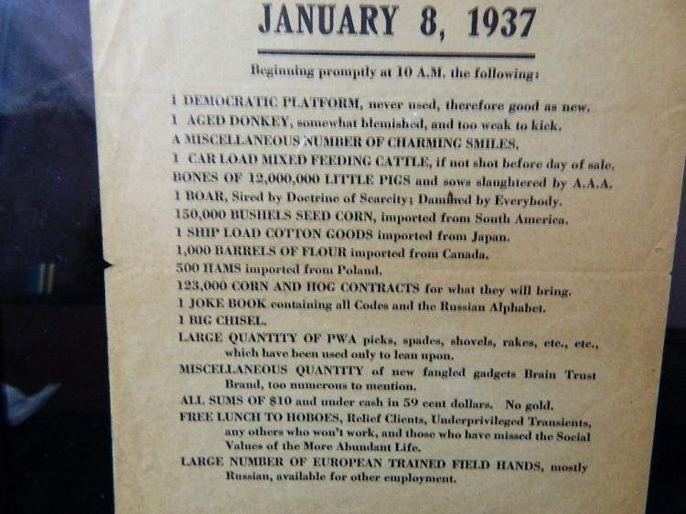 Lot 106: Framed Public Sale Notice from Jan. 8,1937