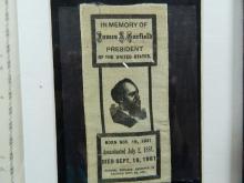 Lot 108: Framed Ribbon In Memory of Pres. James Garfield