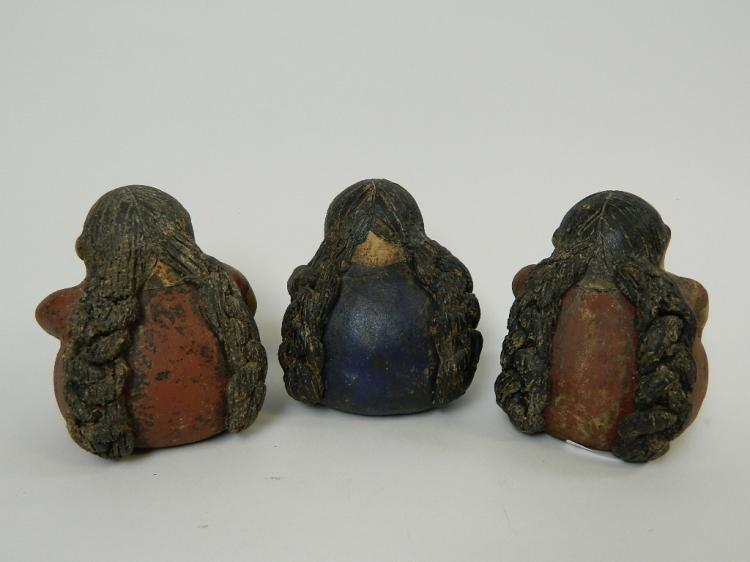 Lot 125: Set of 3 Mexican Lady Figurines Pig/Turtle/Spider