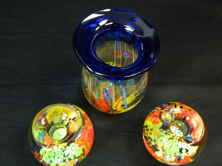 Lot 130: A Trio of Infused Glass Vases with Fish Designs