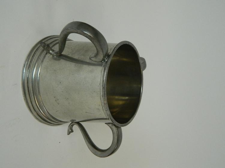 Lot 134: English Pewter 3 Handled Mug