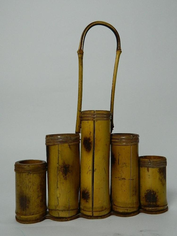 Lot 144: Bamboo Holder with Handle with Five Cylinders