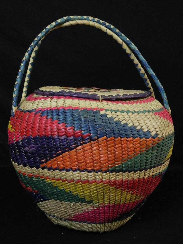Lot 148: Large Colorful Woven Mexican Basket