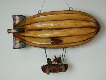 Lot 154: Vintage Hanging Paper Mache Decorative Zeppelin