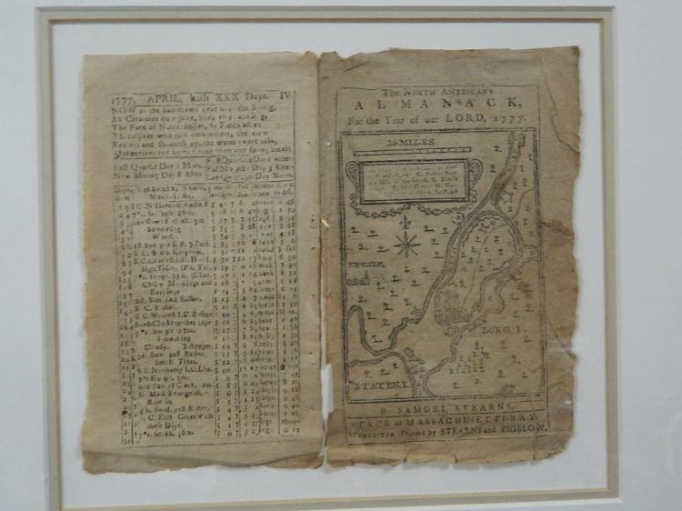 Lot 156: Framed Almanac from 1777