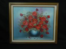 Lot 162: Beautiful Floral Oil Painting Signed by Robert Cox