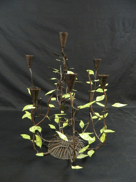 Lot 171: Set of 3 Twig and Leaf Candleabras