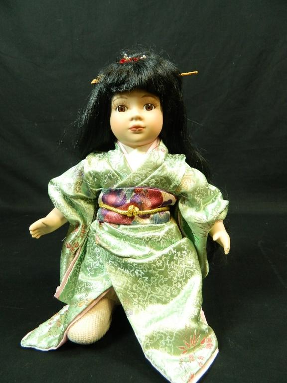 Japanese Porcelain Doll w/ Green Kimono Robe