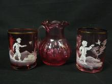 Lot 183: 3 Pieces of Etched Cranberry Glass w/ Gold Trim