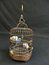 Lot 190: Vintage Chinese Bamboo Bird Cage Porcelain Feeders