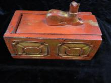 Lot 196: Tibetan Buhddist Jewelry Trinket Wood Box