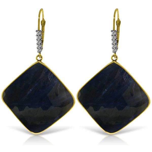 Lot 50733 14KT Yellow Gold 4365 Ctw Sapphire Diamond Earrings