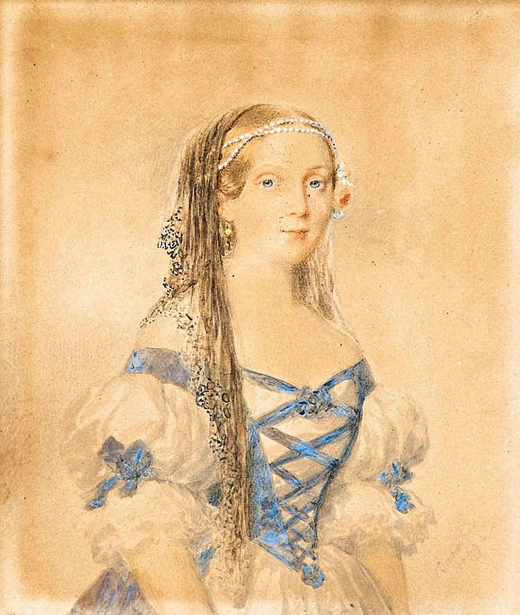 Portrait of a woman with a pearl-coronet , 1859