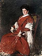 Dame in red (Portrait of Mrs Ágoston Leféber), around 1910