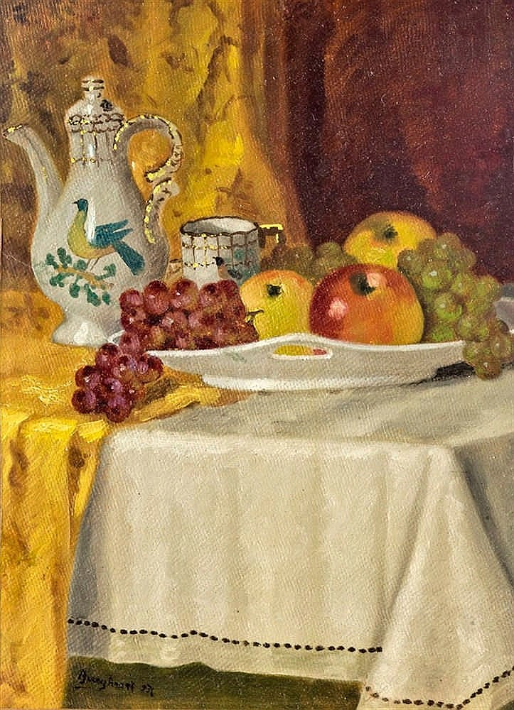 Still life with fruits and porcelain, 1936
