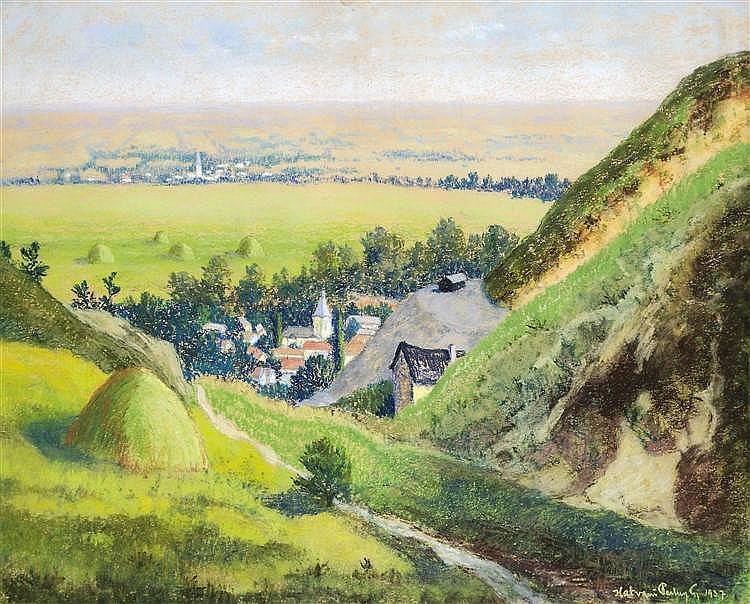 Hatvani Perlusz Gyula (Hatvan, 1896 - Hidegség, 1944) - Village landscape with haystack, 1937