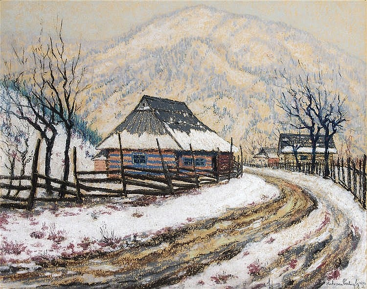 Hatvani Perlusz Gyula (Hatvan, 1896 - Hidegség, 1944) - Curved road by the farm, 1940