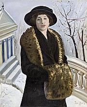 Pécsi Pilch Dezső (Pécs, 1888 - Budapest, 1949) - Portrait of a woman with hat, 1917