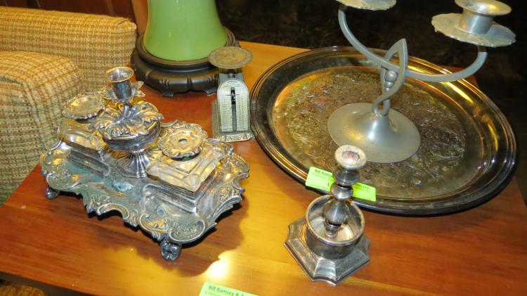 Collection Of Silver Plate Items desk set, etc