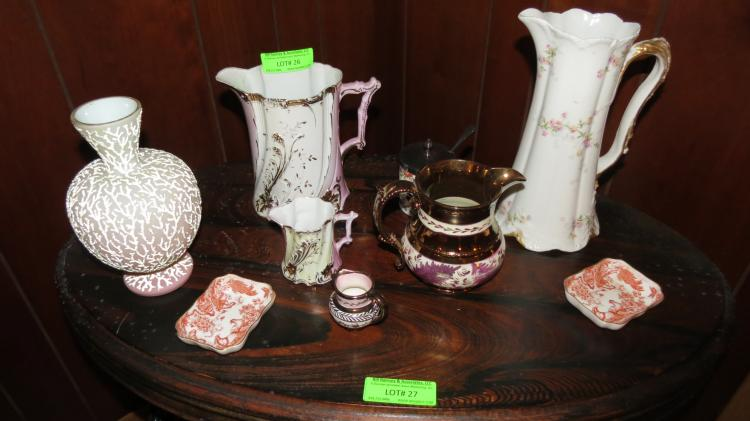 Nine Assorted Table Objects- copper, luster, etc.