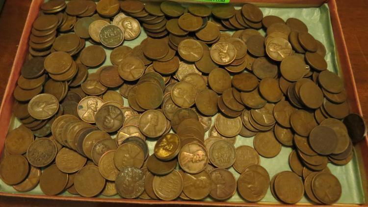 Tray Of Wheat Penny's