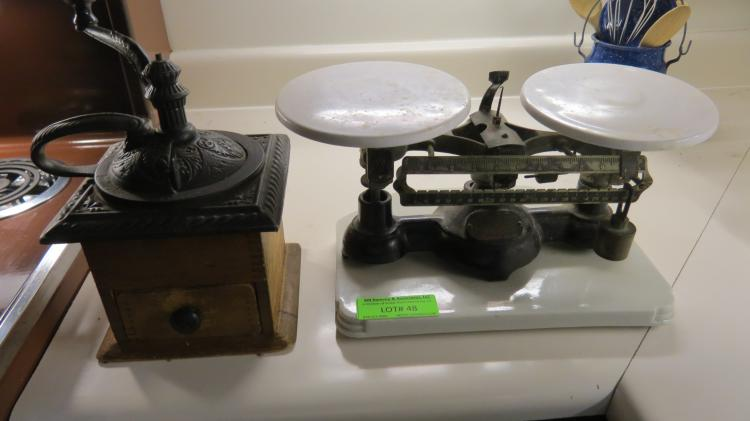Antique Scale And Coffee Grinder