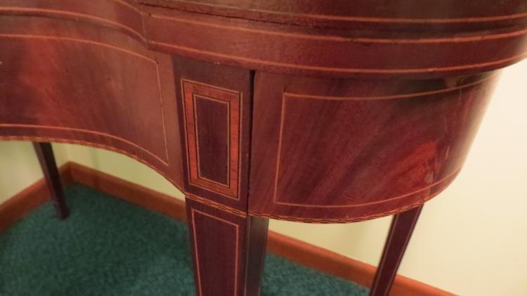 Early Flip Top Mahogany Table With Inlay