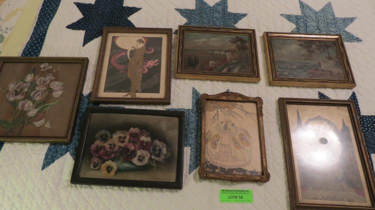 7 Pieces Of Art Deco Framed Art