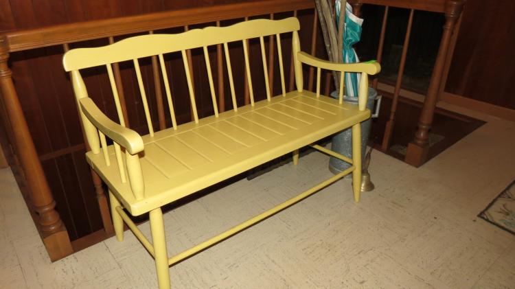 Wood Bench, Brass Bell, Umbrella Stand