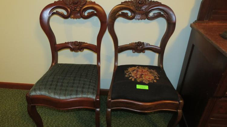 3 Carved Walnut Side Chairs