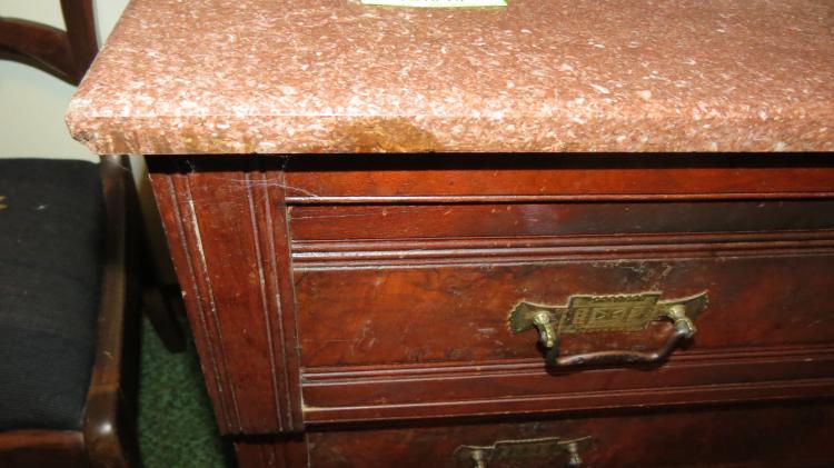 Walnut 3 Drawer Dresser, Mirror, Marble Top