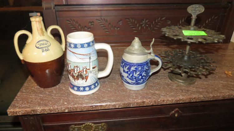 4 Assorted Beer Steins, Wrought Iron Stand
