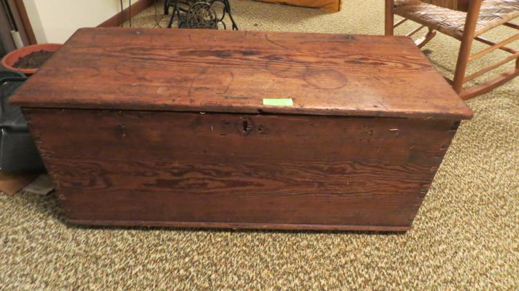 Very Early Pine Box One Board Top