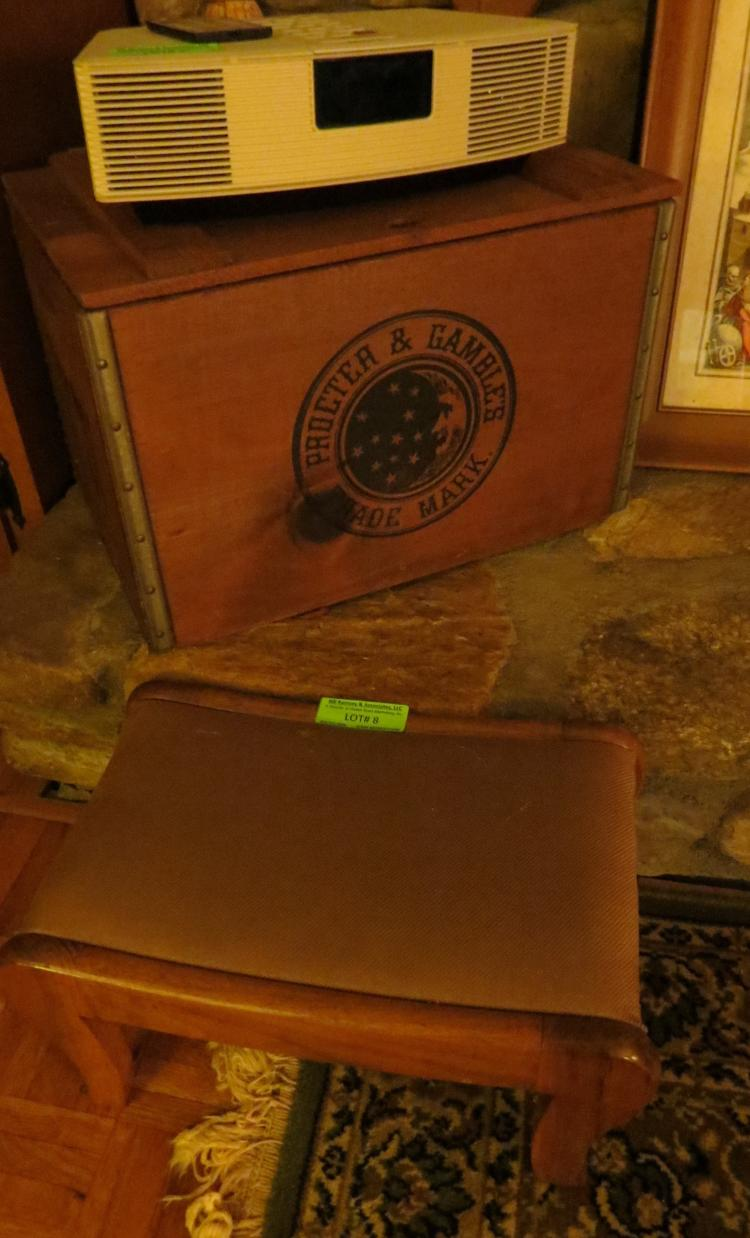 Two Items Stool And Wood Box
