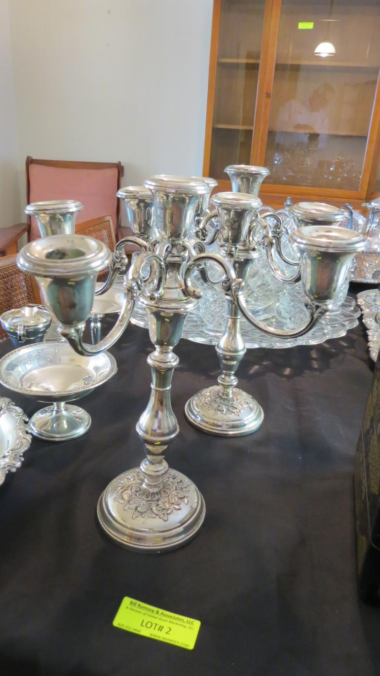 2 large sterling silver candle stands