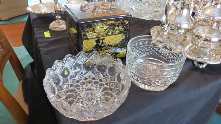 3 asstd. Cut glass, bowls, etc.