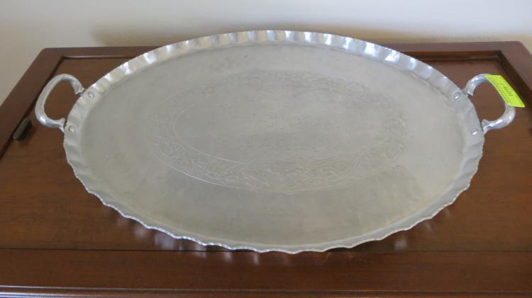 Hand hammered aluminum tray