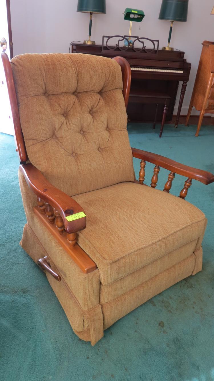 Two knotty pine platform rocker recliners