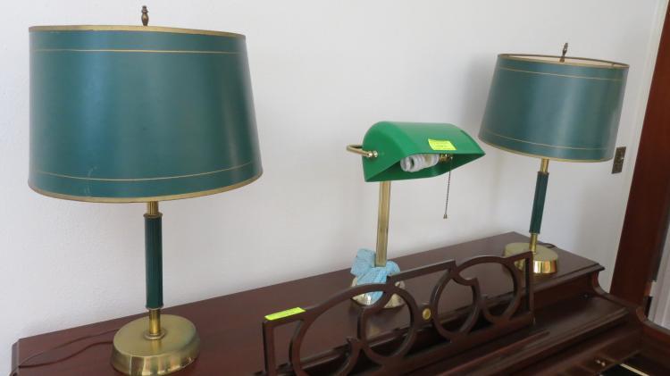 Three asstd, brass/green lamps