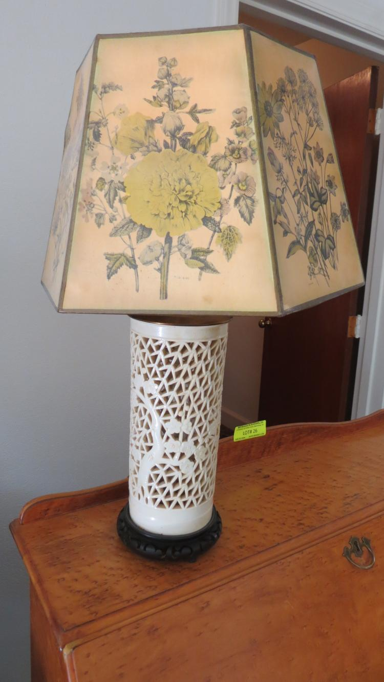 1950€™s Asian lamp with paper shade