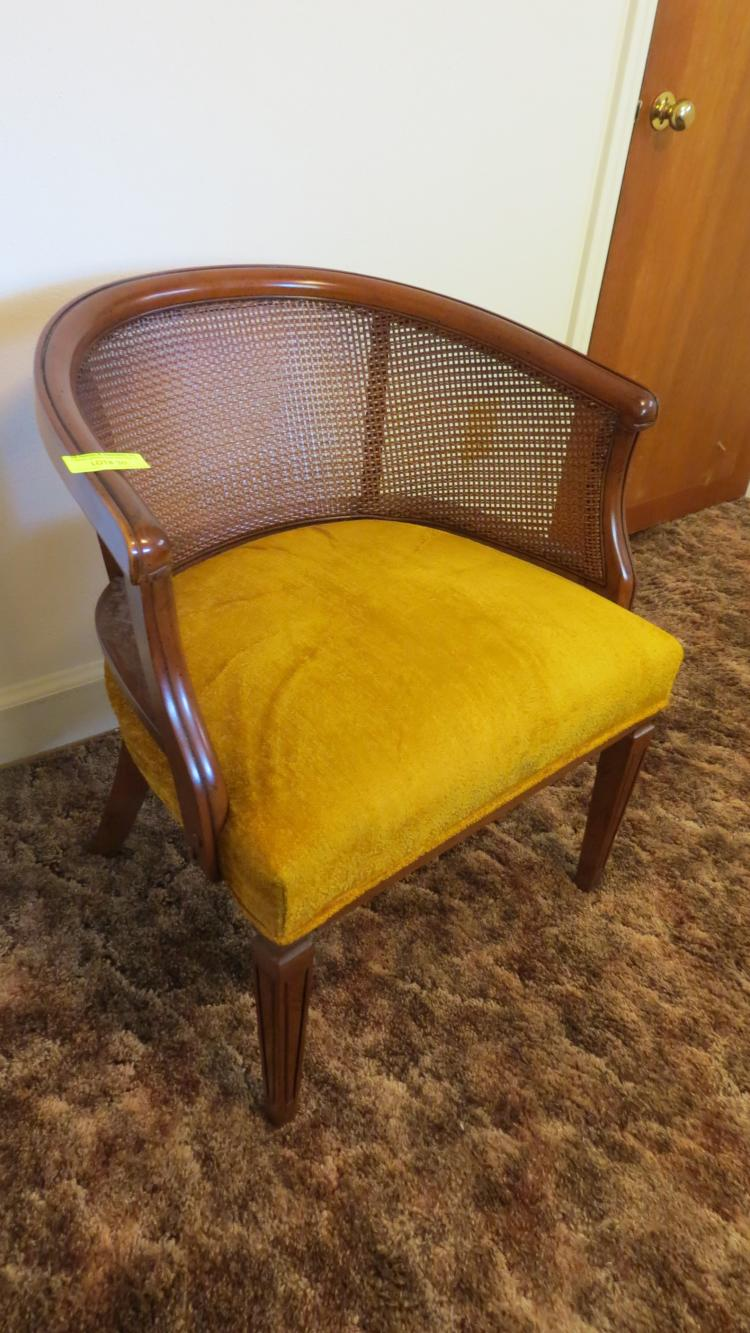 Armed side chair gold fabric