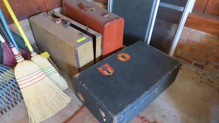 Lot of Misc. In Garage, Suitcases, rakes
