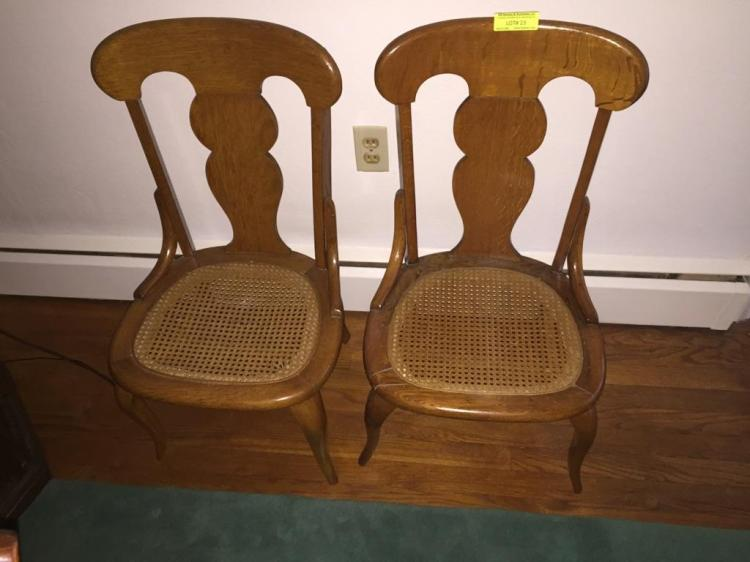 Two matching oak side chairs