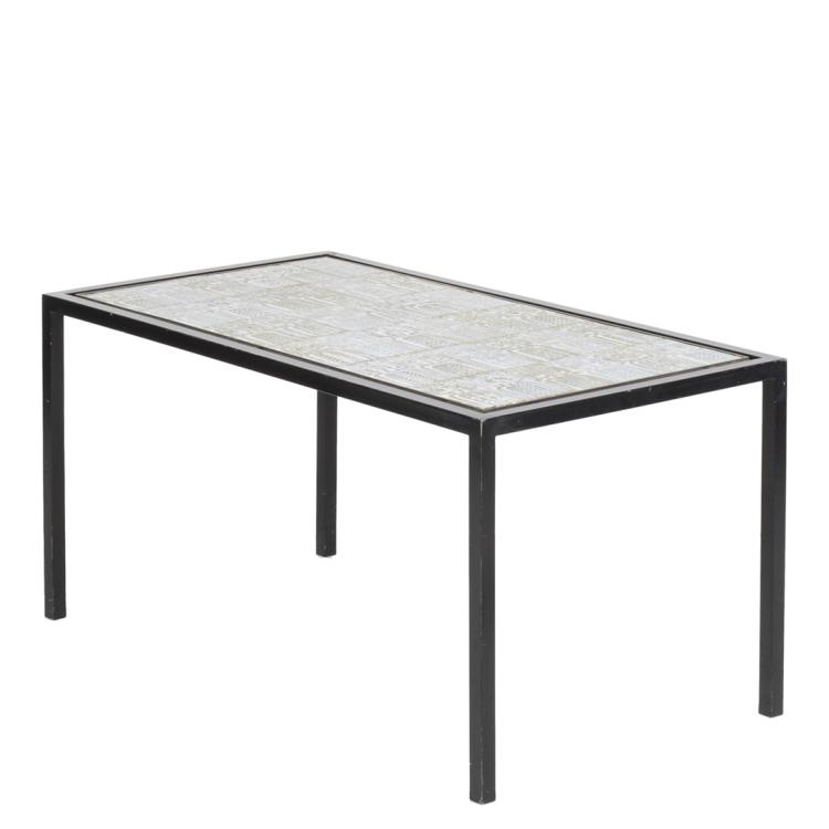 French ceramic tiled coffee table