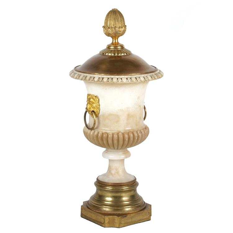 Alabaster and bronze urn lamp