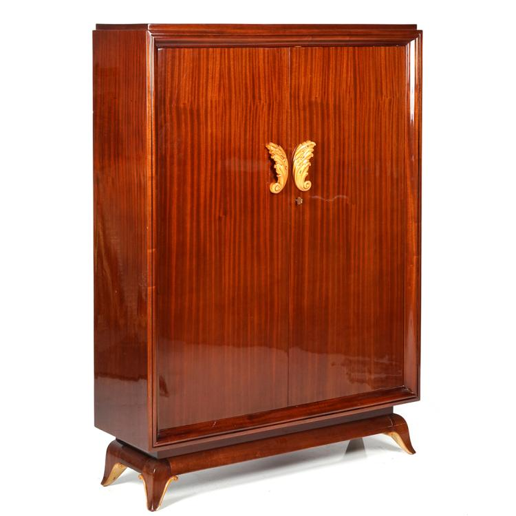 French Art Deco mahogany armoire