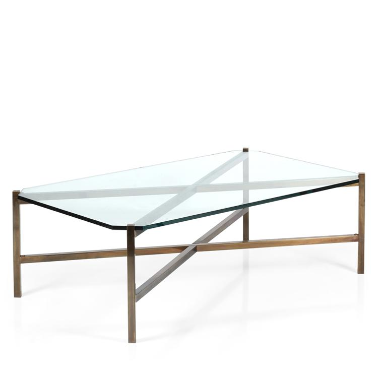 Brass X-base coffee table