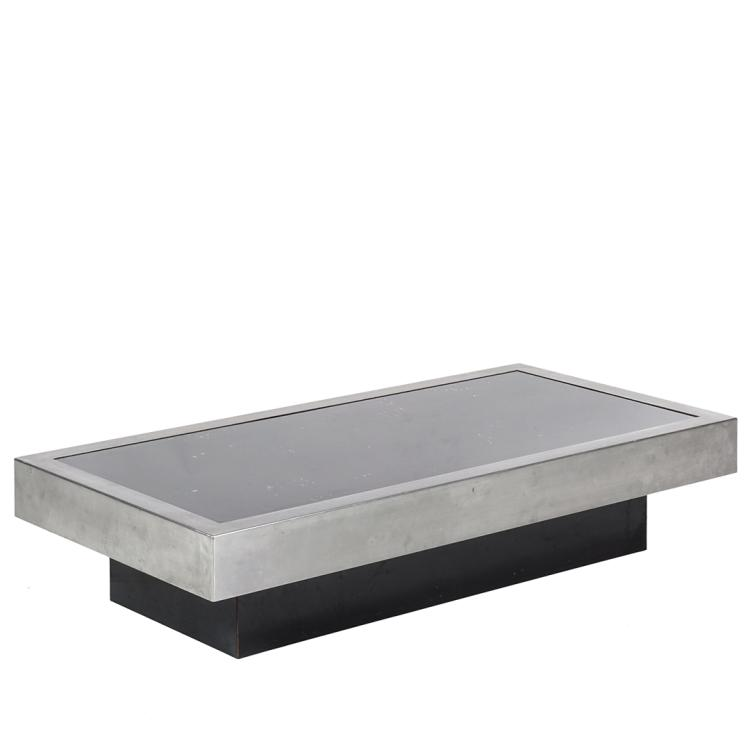 Willy Rizzo brushed steel coffee table