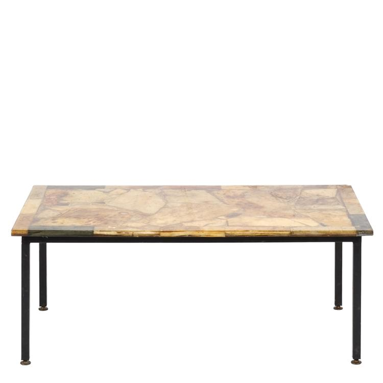 Resin and stone coffee table