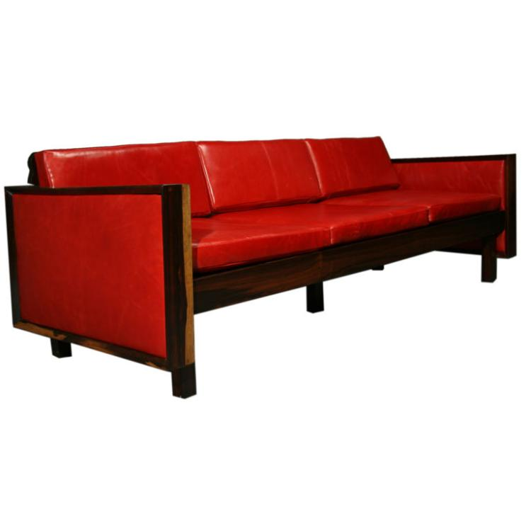 Fatima Architects rosewood and leather sofa